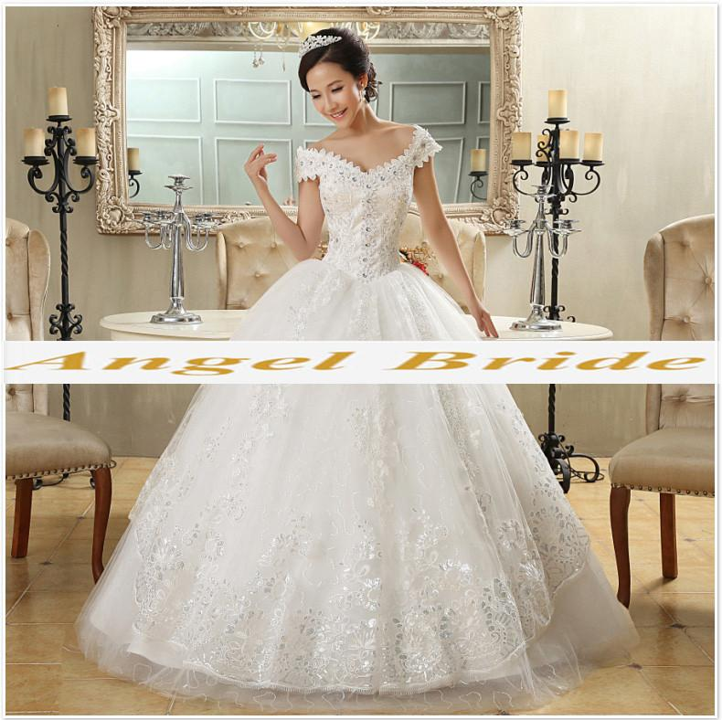 Angel Bride Wedding Dress 2016 Latest White Shoulders Thin Lady 2216 ...