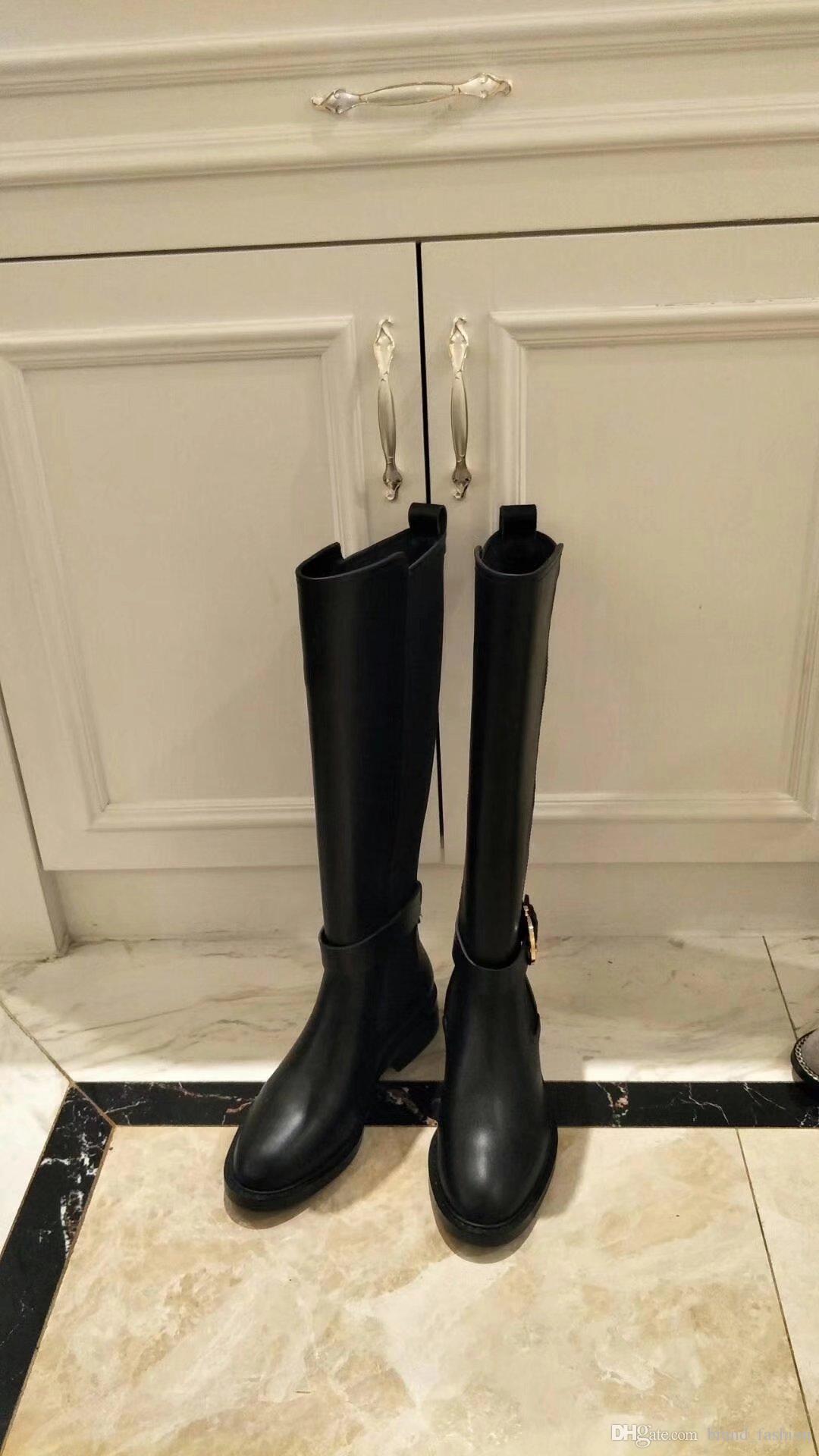 Kadınlar için marka Toka Motosiklet Çizmeler Düz topuk Bayan Şövalye Boot