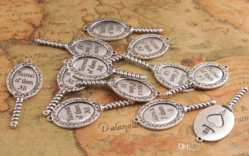 10 stks mode antiqued zilveren mooiste van alle spiegel hangers # 92278