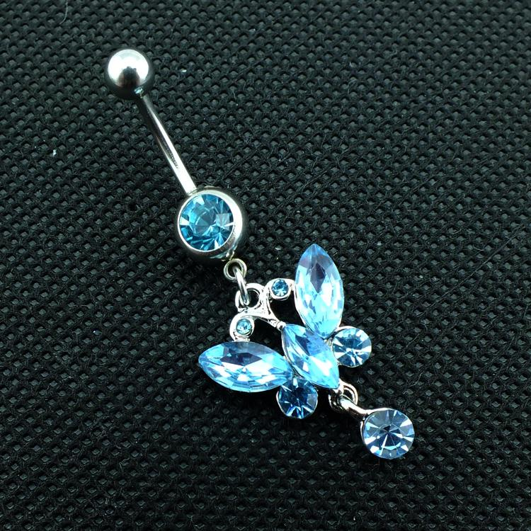 Latest Fashion Belly Button Rings 316L Stainless Steel Dangle Blue Crystal Butterfly Navel Body Piercing Jewelry