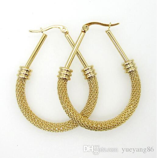 Brand new fashion design chirurgico in acciaio inox filo di torsione maglia orecchino di goccia del cerchio non tramonterà mai oro tono donne 45mm * 30mm