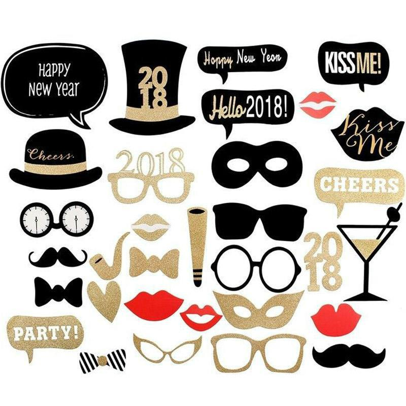 year party halloween masks 8 styles gold glitter shinning mustache lips camera crown tie necktie pipe wine slogan hat photo booth props costume party themes