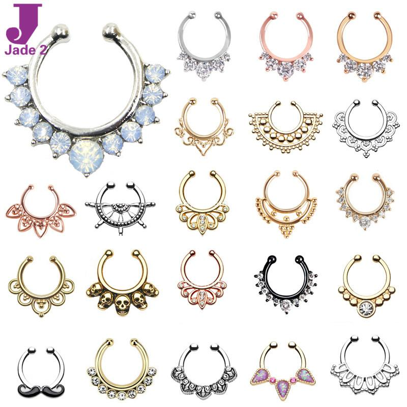 Best Hot Sale Variety Fake Septum Nose Rings Crystal Gold Faux