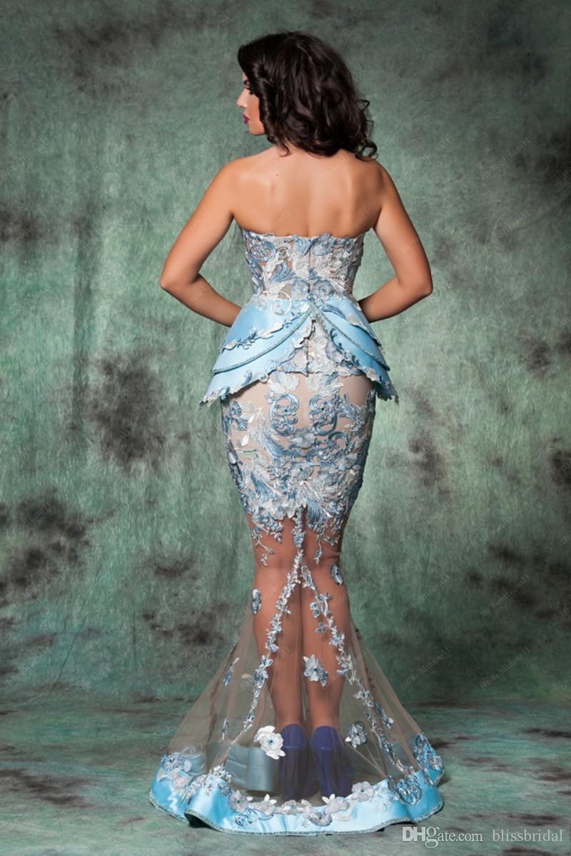 Плюс размер русалки кружевные тюль вечерние платья выпускного вечера Милая длина дола арабская Румыния вечерние платья ясных сексуальных платьев горячей вечеринки