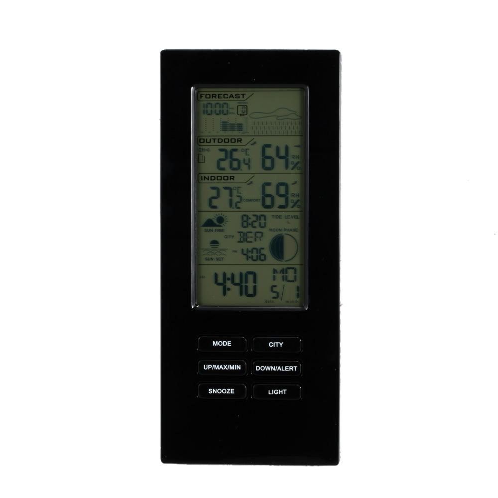 Freeshipping LCD Display Wireless Weather Station Clock Digital Thermometer Temperature Alert Hygrometer Barometer Calendar Moon Phase