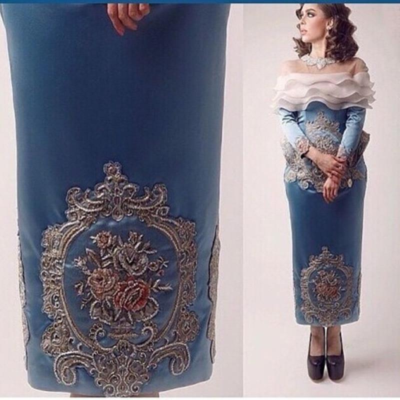 Azules vestidos de noche de la envoltura 2016 Sheer Cuello de caja con volantes de organza decorado y colorido bordado con cuentas con curvada Peplum
