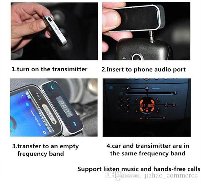 Venta al por mayor de teléfono celular transmisor FM 3.5 mm para la estación de radio Reproductor de MP3 de música Adaptador de Radio manos libres inalámbrico modulador de FM para Smart Phon
