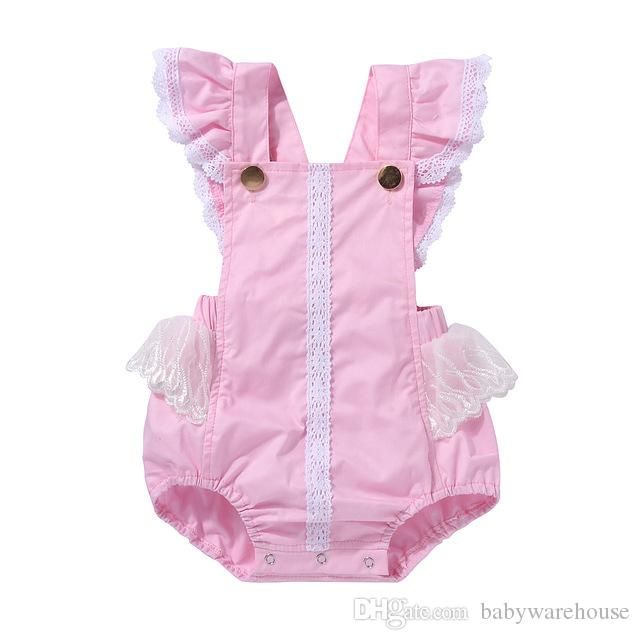 6f30fac11b47 2019 2018 Infant Baby Girl Clothes Lace Romper Lovely Pink Jumpsuit ...