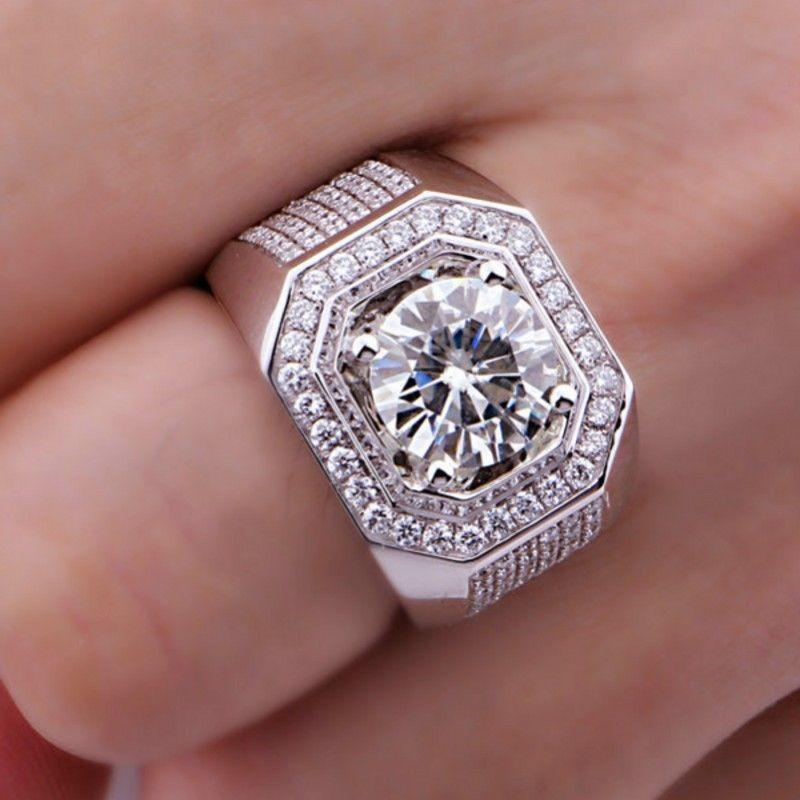 Size8/9/10/11/12/13 Wholesale professional Brand Jewelry 10kt white gold filled Topaz Simulated Diamond Men Wedding Ring gift