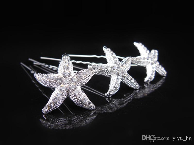 Nueva estrella de mar de plata plateó horquillas nupciales clip de pelo de la boda joyería del pelo U clip de la venta caliente
