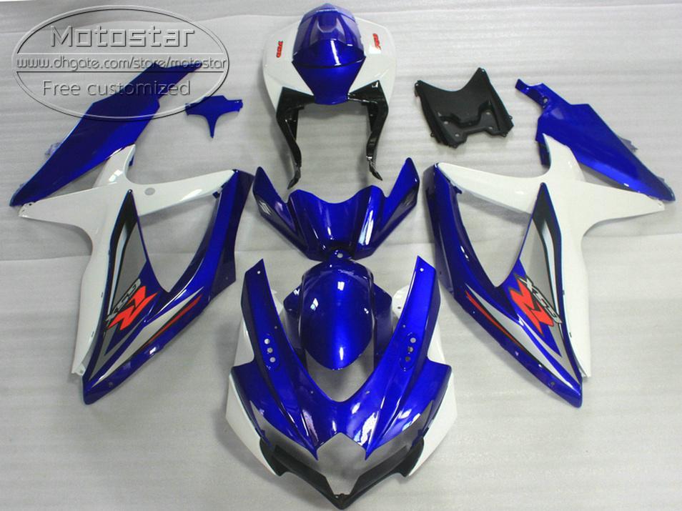ABS fairing kit for SUZUKI GSX-R750 GSX-R600 2008 2009 2010 K8 K9 blue white black fairings set GSXR 600 750 08-10 TA26