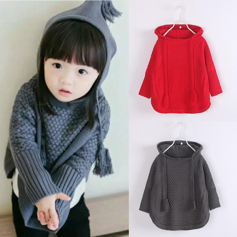 2016 Kids Girls Knit Hooded Sweaters Baby Girl Fall Batwing Pullover Girl  Fashion Jumper Tops Childrens Wholesale clothing ZJ1236