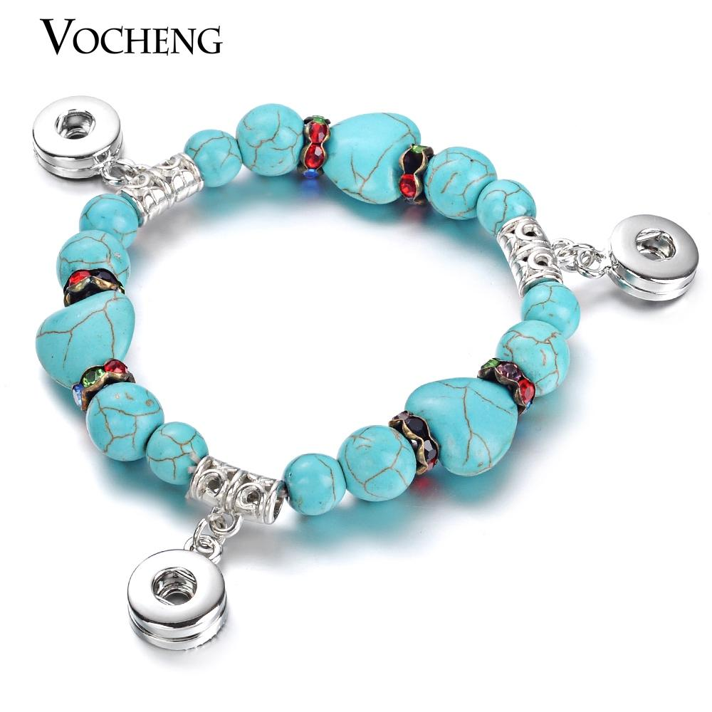 VOCHENG NOOSA Small 12mm Snap Button Natural Stone Elastic Bracelet NN-375