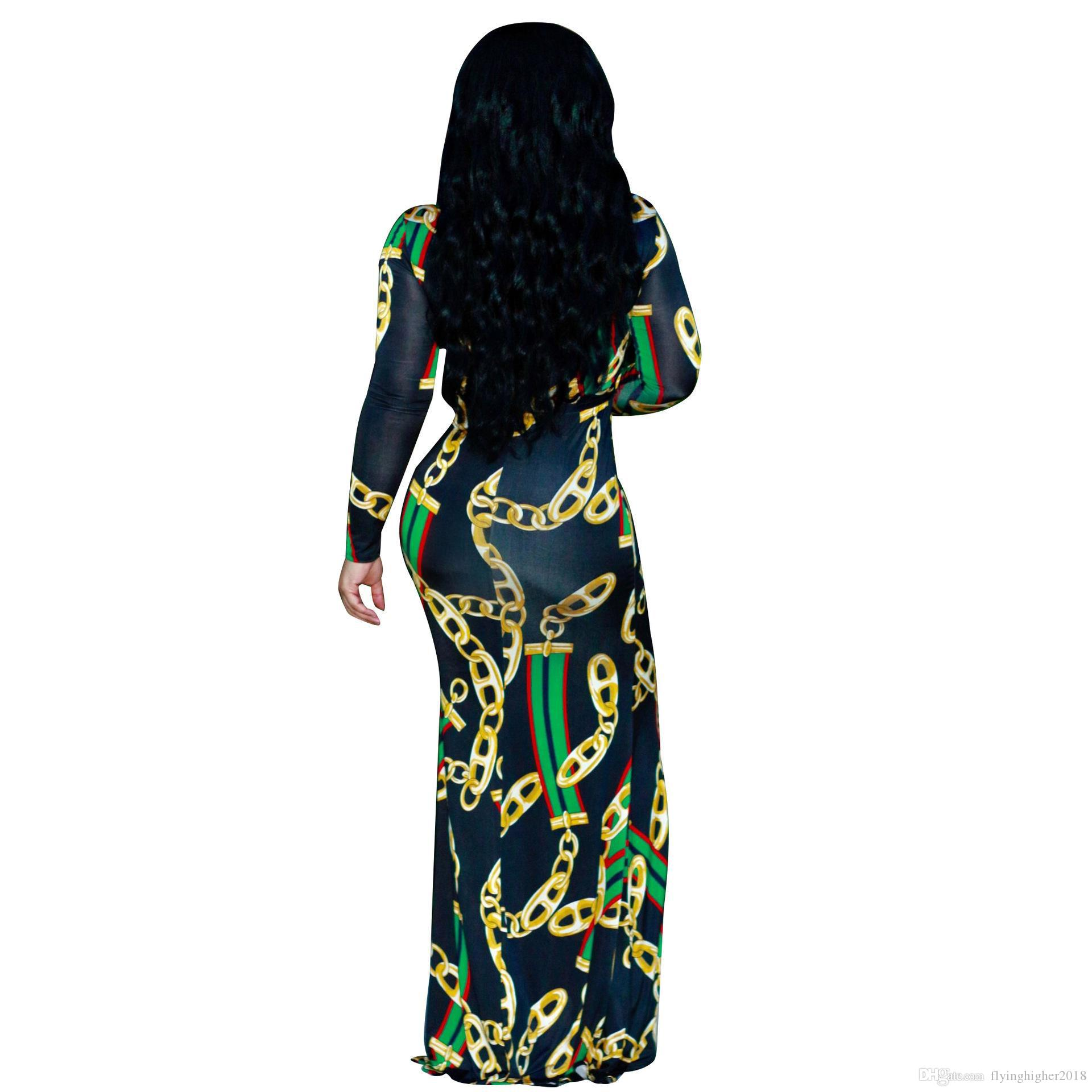 Autumn Womens Maxi Dress Traditional African Print Long Dress Dashiki Elastic Elegant Ladies Bodycon Vintage Chain Printed Plus size
