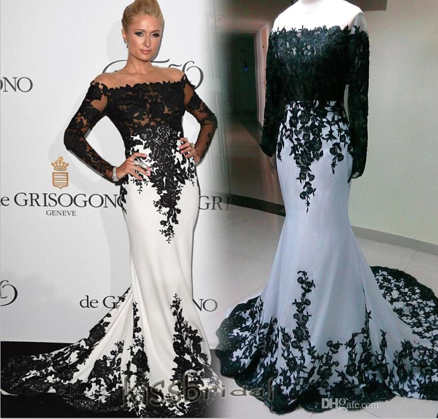 2016 Red Carpet Evening Dresses Black And White Mermaid