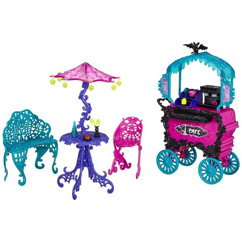 One Set Doll Furniture Travel Scaris Cafe Chair &Cart ,New Styles Girls Plastic Toy For Monster High Doll Girls Best Gift