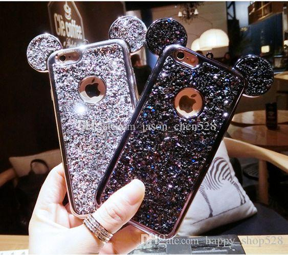 Colorful Glitter Powder Cover Soft Glitter Case LogoHole For iPhone X 8 i6 6S 7 i7 plus Case Cartoon 3D Mouse Ears Sparkling