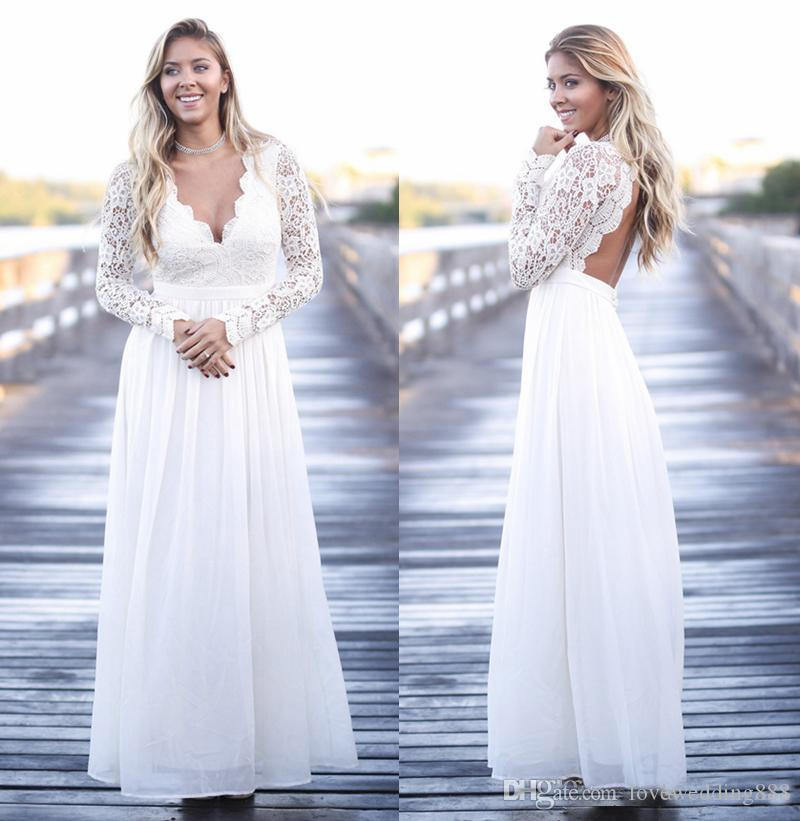 Discount 2018 Plus Size Wedding Dresses Lace&Chiffon Long Sleeve ...