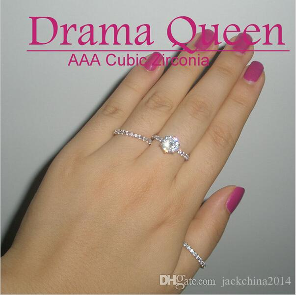 wholesale Women Clear Zircon 10KT White Gold Filled 3-in-1 Wedding Simulated Diamond women Band Ring Set Size 5-11