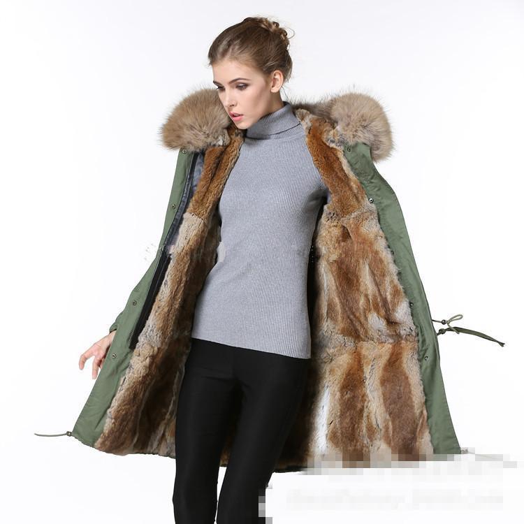 2017 Multicolor New Winter Thick Cotton Army Coat Rabbit Fur ...