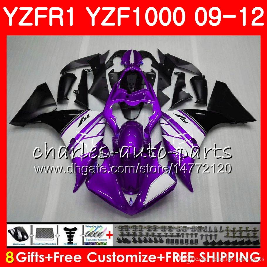 Body For YAMAHA YZF 1000 R 1 YZFR1 Purple white 09 10 11 12 Bodywork 85NO38 YZF1000 YZF R1 2009 2010 2011 2012 YZF-1000 YZF-R1 09 12 Fairing