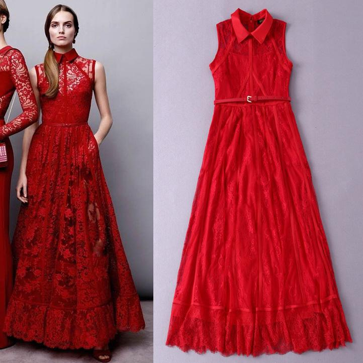 Shirt Collar Sleeveless Stitching Strips Sexy Transparent Red Lace ...