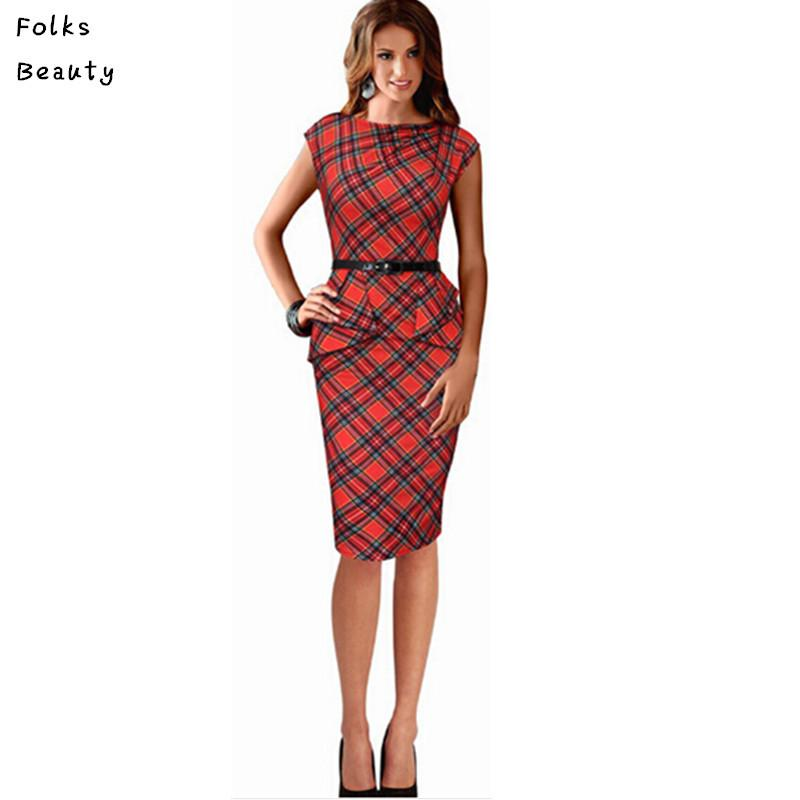 2017 2015 Work Dresses For Women Vintage Elegant Belted Tartan ...