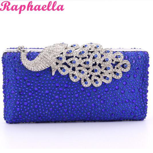 Brand New Lady Mini Handbag Royal Blue Diamond Peacock Clutch ...