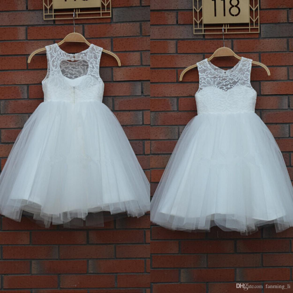 New Arrival Real Flower Girl Dresses Keyhole Communion Party Pageant ...