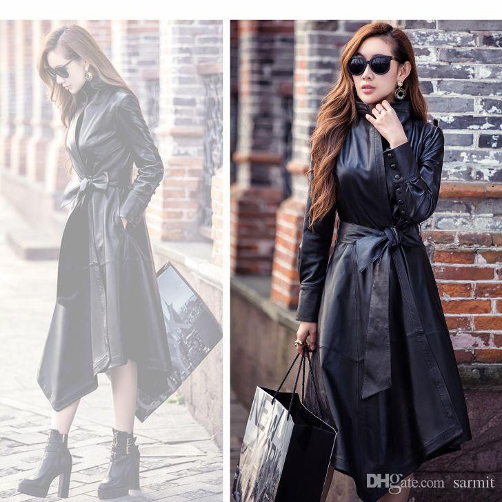 7d6be30e386 2019 CAF209 NEW CHEAP SALE Black Red Sheep Leather Womens Trench Coats Long  Autumn Winter Coat Women Jacket Leather From Sarmit
