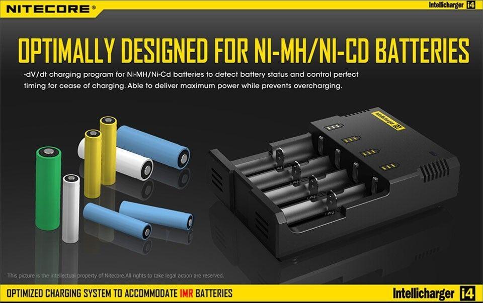Nitecore I4 Intellicharger 유니버셜 e cig 18650 16340 26650 10440 AA AAA 14500 배터리 충전기 Nitecore 배터리 충전기