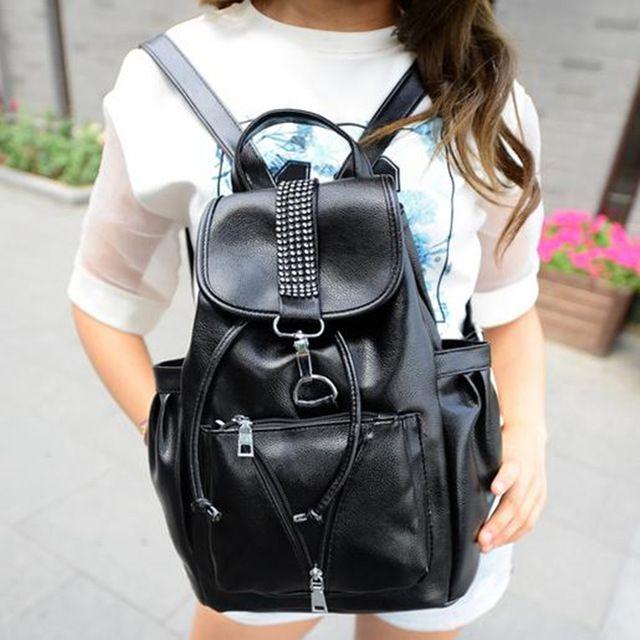 2016 New Women Backpacks Leather School Bags For Teenagers Girls Large Black  Outdoor Travel Backpacks Waterproof Bagpack Mochila Backpacks Backpack ... 5de78f2ff7