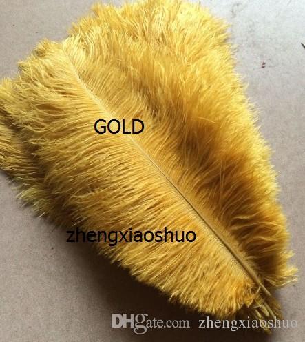 Оптовая продажа 100 шт. / лот 12-14 дюймов страусиное перо шлейф Белый, Королевский Буле, черный, бирюзовый, розовый, желтый фиолетовый красный Слоновой Кости золото оранжевый