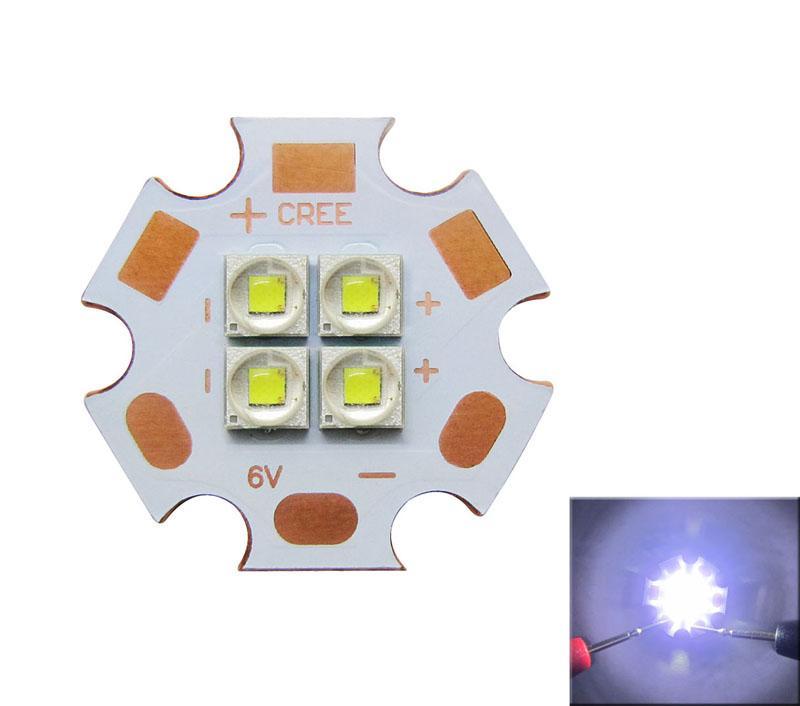 Cree XP-E2 XPE2 4 Led Chips Warm White / White Led Light 6V / 12V 110 Degree