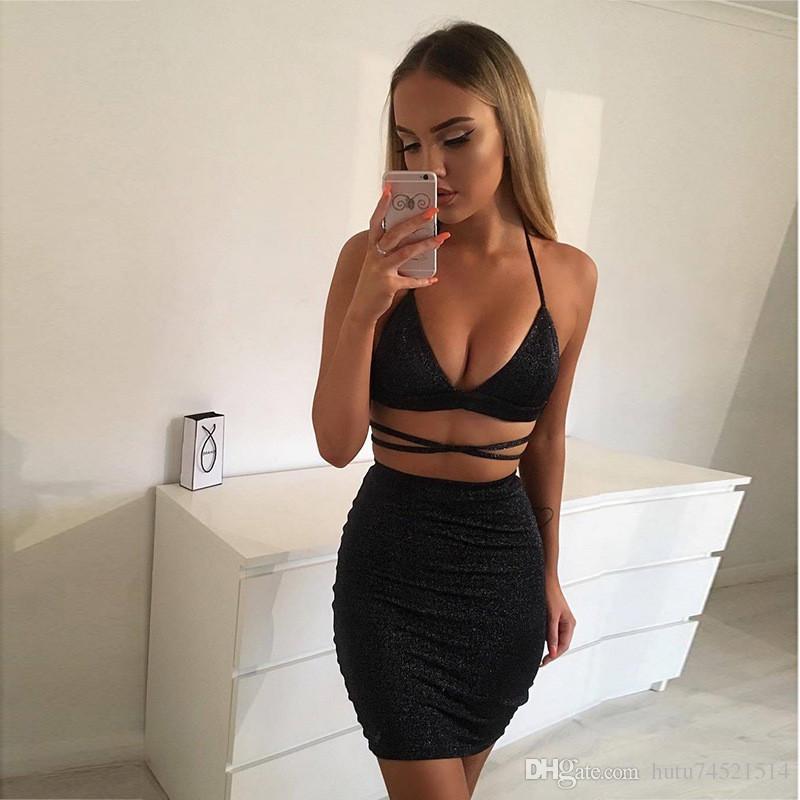 Seksi Sparkly Bandaj Bodycon Elbiseler 2017 Halter Derin V Boyun Lace Up Kırpma Üst Iki Parçalı Set Yaz Parti Elbiseler Vestidos