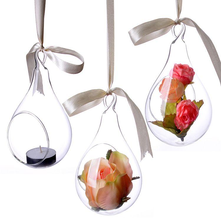 Glass Hanging Flower Vasepear Shapeweddinghome Decoration