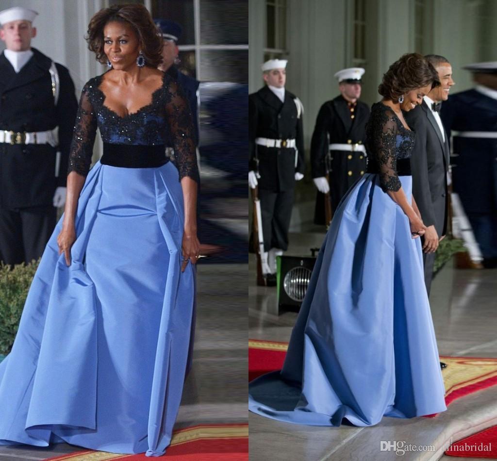 3/4 Sleeve Formal Evening Dresses Black Lace V Neck Vestidos De Festa ALine Sweep Train Light Sky Blue Party Prom Gowns 2016
