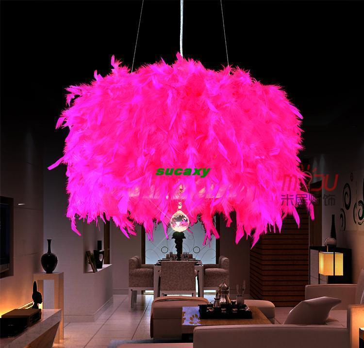 Feather crystal pendant bedroom lamp wedding room living room bedroom study lamp fixtures clothing colorful Diameter 30cm