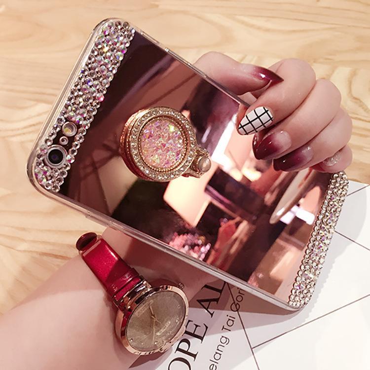 Para iPhone X 8 Plus 7 6 6S Samsung S8 S7 edge Nota 8 Caja de cristal de diamante con brillo hecho a mano con cubierta de espejo de pie