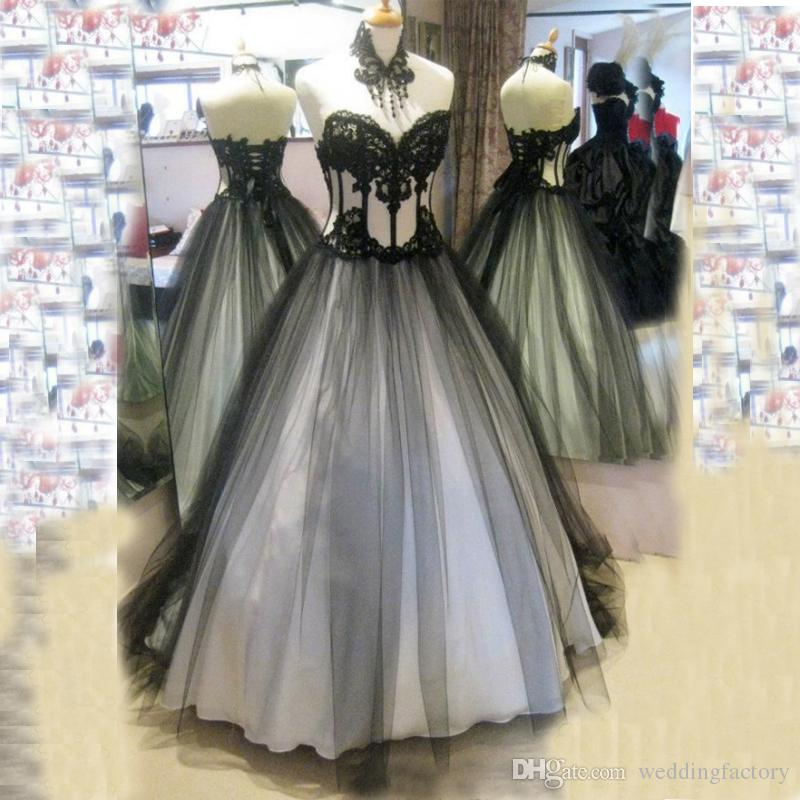 Discount 2015 Victorian Gothic Wedding Dresses Real Image High Quality Black And White Bridal Gowns Lace Appliques Soft Tulle Up Back Vintage Ball Gown