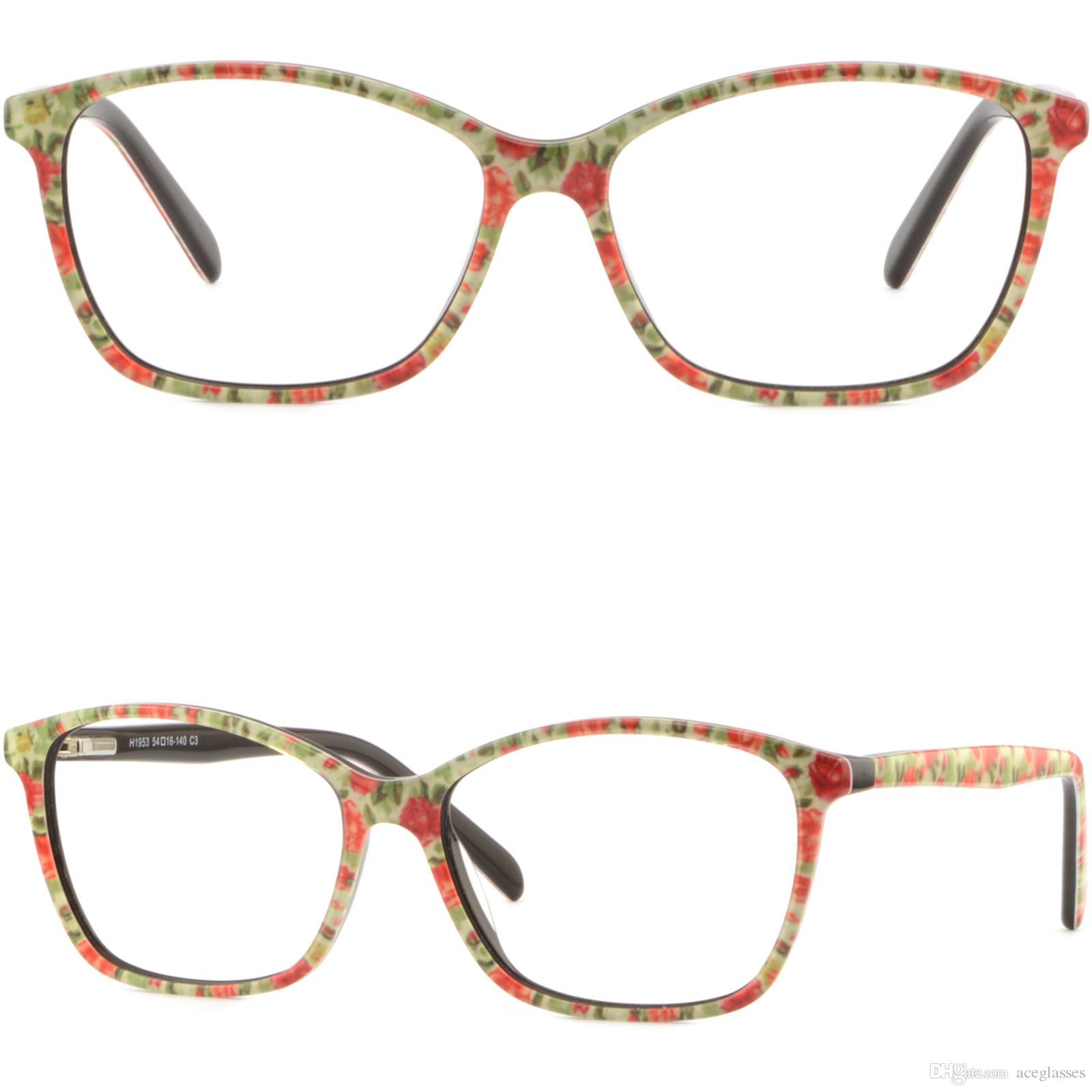 Thin Light Women\'S Plastic Frames Spring Hinges Glasses Floral ...