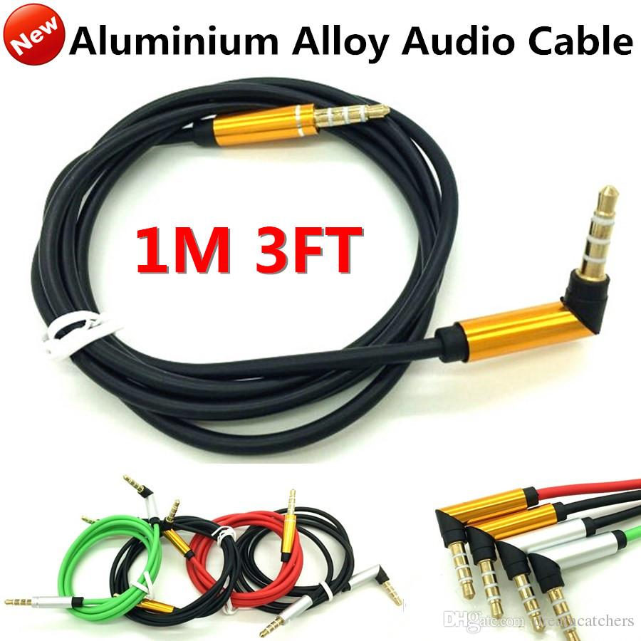 3.5mm Stereo Bend Aux Audio Cables 1M Car Extension Jack Male Wire ...