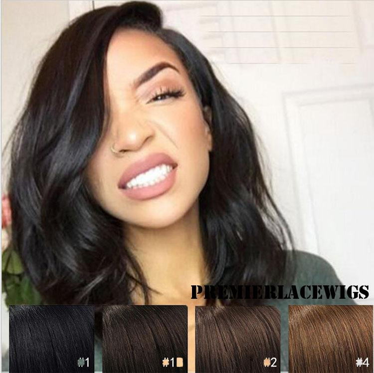 Premierlacewigs Kim K Style Long Bob Beach Wave Virgin Brazilian