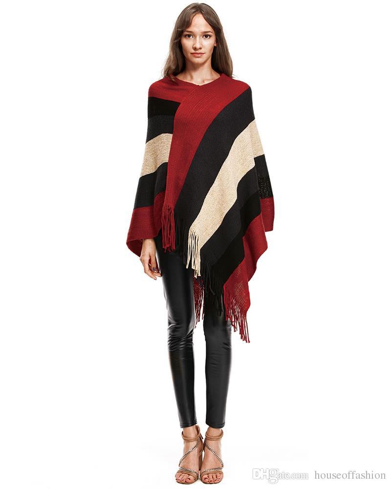 Cape Fashion Women Stripe Fringe Tassels Hem Knitted Poncho V Neck ...