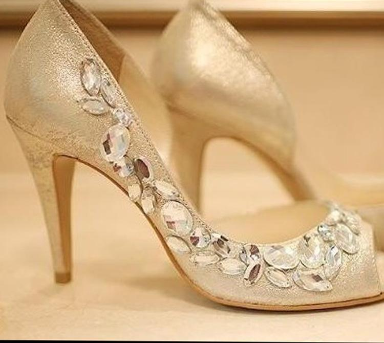 High Heels Champagne Rhinestone Shoes/Wedding Shoes For Bridal Shoes ...