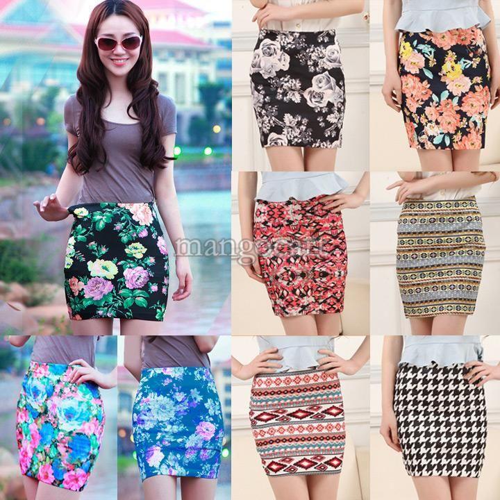 Discount 2014 New Arrival Women Short Pencil Skirt Flower Print ...