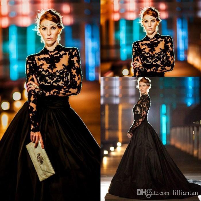 3ed5e945a78 Großhandel Abendkleider High Neck Lange Ärmel Spitze Taft Plus Size  Ballkleid Prom Kleider Modest Black Celebrity Kleid Sweep Zug Von  Lilliantan