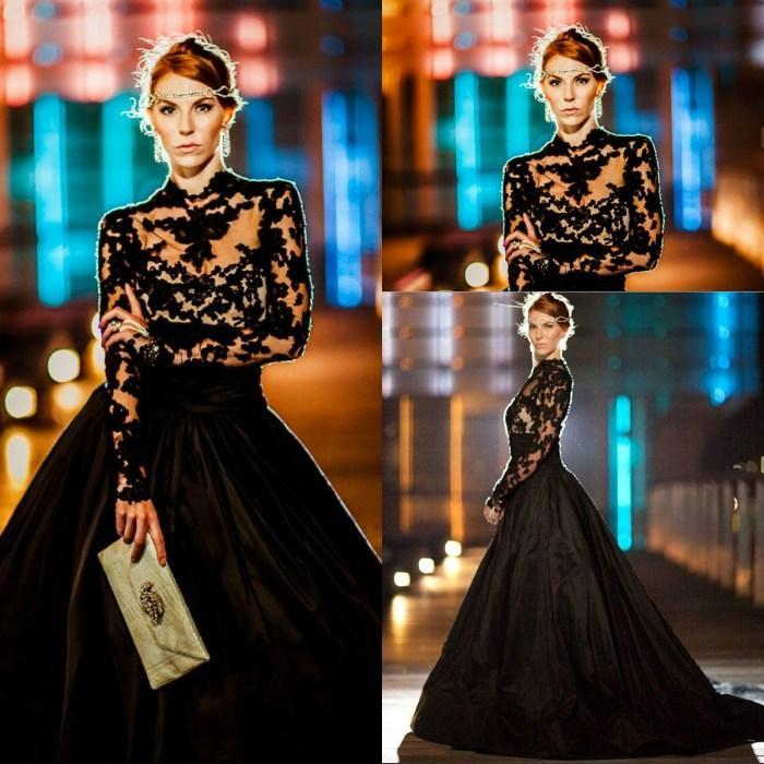 Satın Al Gece Kıyafetleri Yüksek Boyunlu Uzun Kollu Dantel Tafta Plus Size  Ball Gown Gelinlik Modelleri Mütevazi Siyah Ünlü Giysi Tarama Tren d268b7fba720