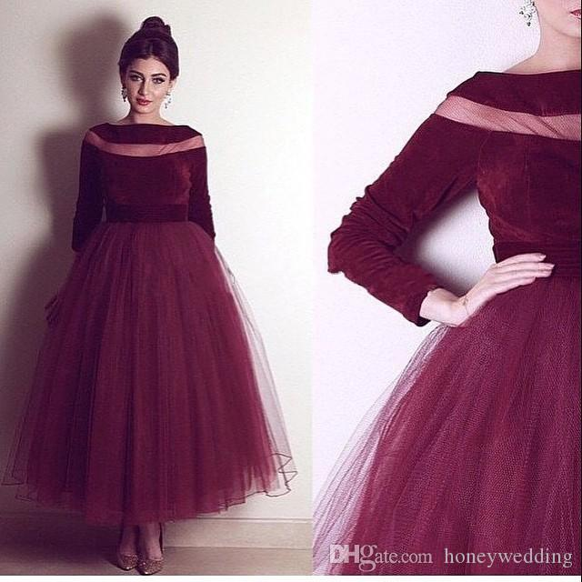 Yousef Aljasmi Burgundy Arabic Dresses Designer Evening Gowns with ...