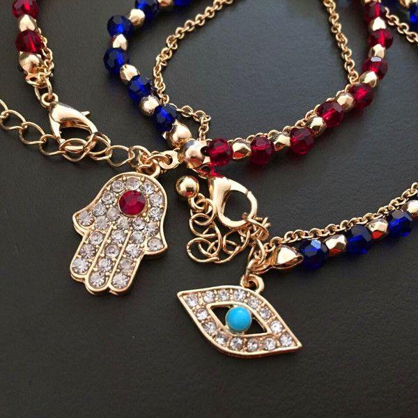 Bling Bling Hamsa mano azul pavo ojo malvado granos del encanto pulsera Lucky Amuleto pulsera del brazalete de la joyería de moda venta caliente W888